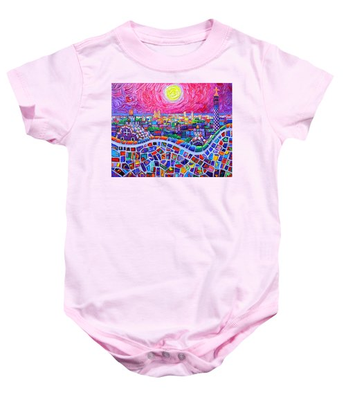 Vibrant Barcelona Night View From Park Guell Modern Impressionism Knife Painting Ana Maria Edulescu Baby Onesie