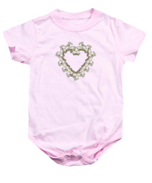 White Orchid Floral Heart Love And Romance Baby Onesie