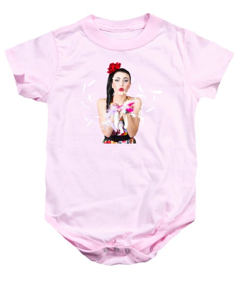 Woman Blowing Feathers Baby Onesie