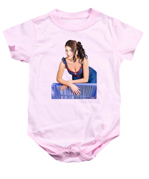 Woman In Bright Make-up Relaxing On Home Furniture Baby Onesie