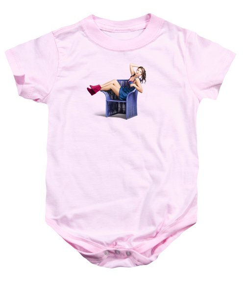 Woman Sitting On A Chair Baby Onesie