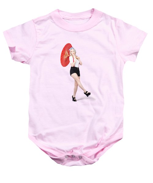 Young Beautiful Pin Up Woman Posing With Umbrella Baby Onesie