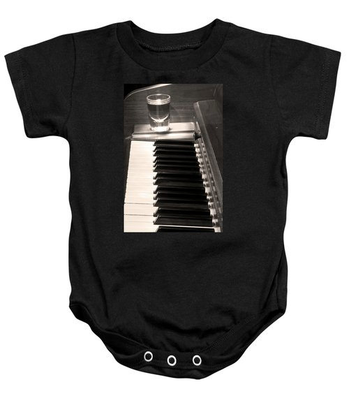A Shot Of Bourbon Whiskey And The Bw Piano Ivory Keys In Sepia Baby Onesie