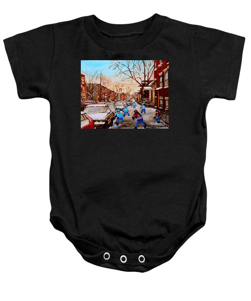 Hockey Art- Verdun Street Scene - Paintings Of Montreal Baby Onesie