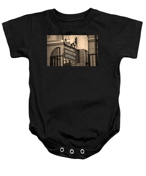 Baseball Warning Baby Onesie by Frank Romeo