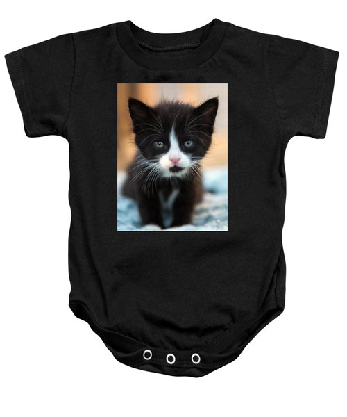 Black And White Kitten Baby Onesie