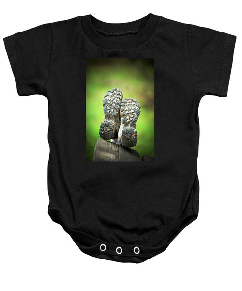 Bottom View Of Hiking Shoes Baby Onesie