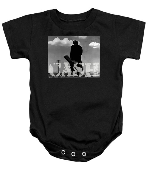 Baby Onesie featuring the mixed media Johnny Cash by Marvin Blaine