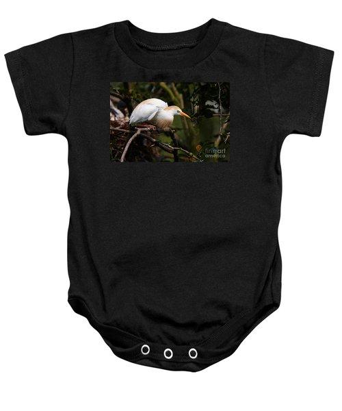 Cattle Egret In A Tree Baby Onesie
