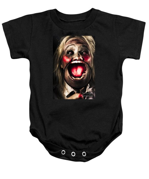 Dark And Scary Horror Face. Evil Laugh Baby Onesie