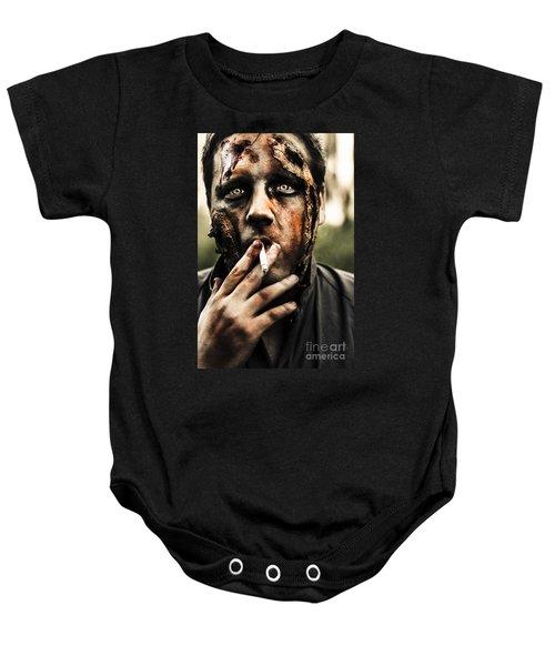Evil Dead Zombie Smoking Cigarette Outside Baby Onesie