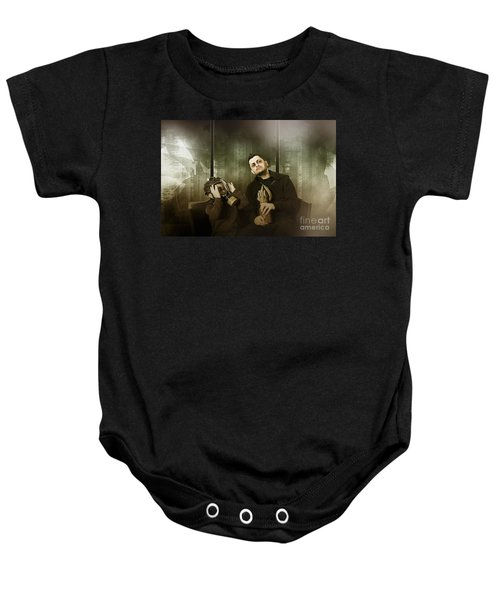 Father And Son In Gasmask. Nuclear Terror Attack Baby Onesie