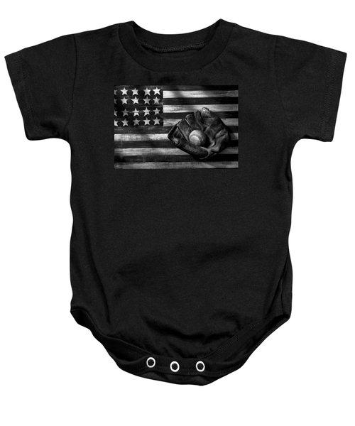 Folk Art American Flag And Baseball Mitt Black And White Baby Onesie