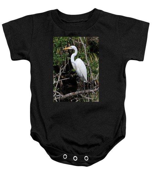 Great Egret Perched In Fallen Tree Baby Onesie