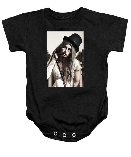 Grunge Ghost Girl With Blood Mouth. Dark Fine Art Baby Onesie