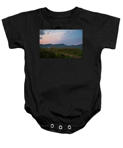 Moon Over The Hills Of Povoacao Baby Onesie