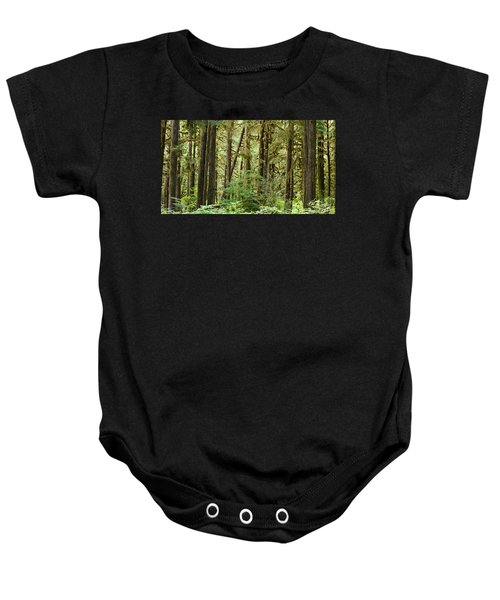 Trees In A Forest, Quinault Rainforest Baby Onesie by Panoramic Images