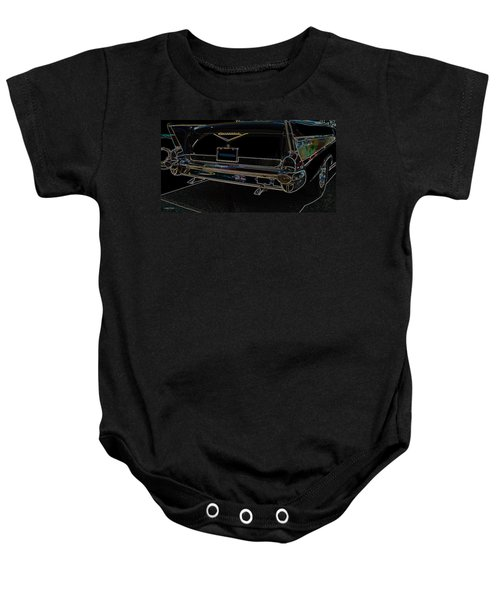 1957 Chevrolet Rear View Art Black_varooom Tag Baby Onesie