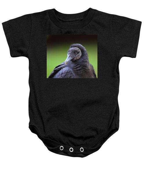 Black Vulture Portrait Baby Onesie by Bruce J Robinson