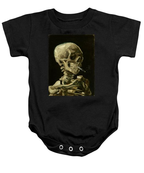 Head Of A Skeleton With A Burning Cigarette Baby Onesie