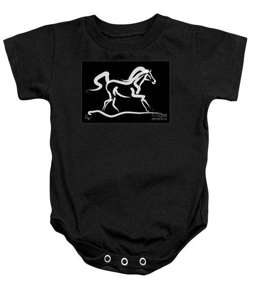 Baby Onesie featuring the painting Horse-runner by Go Van Kampen