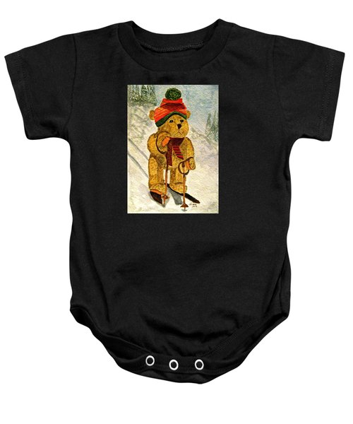 Learning To Ski Baby Onesie