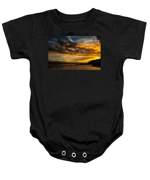Sunset Over The Ocean  Baby Onesie