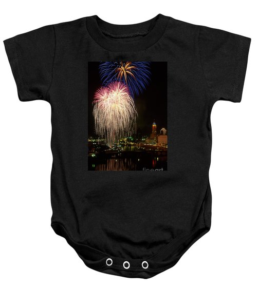 21l106 Red White And Boom Fireworks Photo Baby Onesie