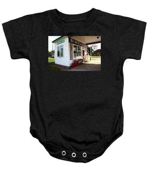 Baby Onesie featuring the photograph Route 66 Filling Station by Frank Romeo