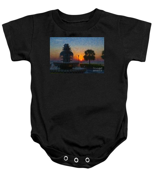 Pineapple Fountain At Dawn Baby Onesie