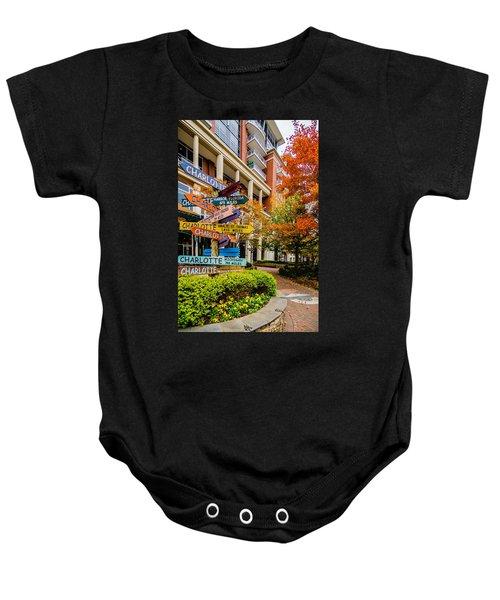 Charlotte City Skyline Autumn Season Baby Onesie