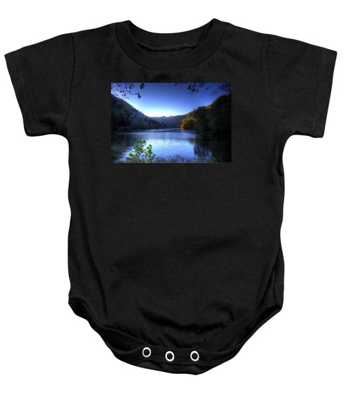 Baby Onesie featuring the photograph A Blue Lake In The Woods by Jonny D