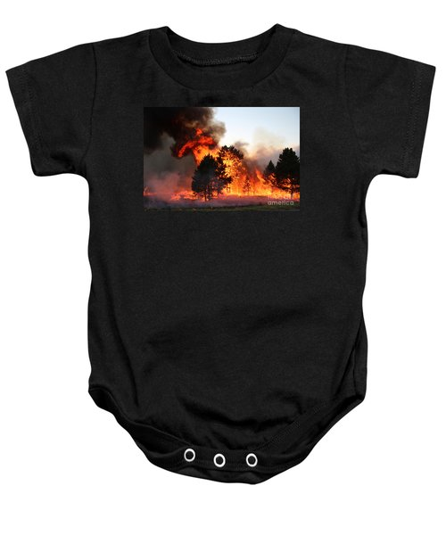 A Burst Of Flames From The White Draw Fire Baby Onesie