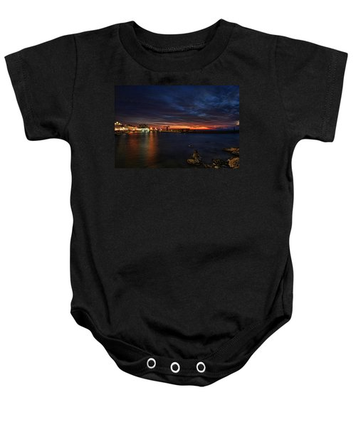 a flaming sunset at Tel Aviv port Baby Onesie