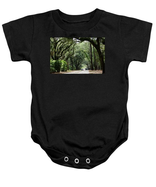 A Pretty Tree Covered Road Somewhere On Hilton Head Island Baby Onesie