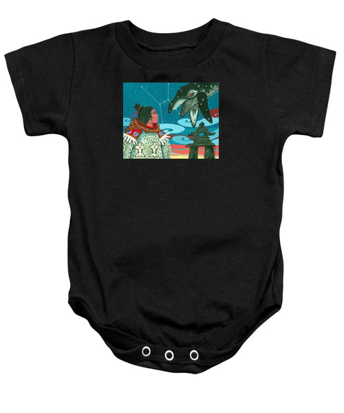 Baby Onesie featuring the painting A Study For Whale Dreamer by Chholing Taha