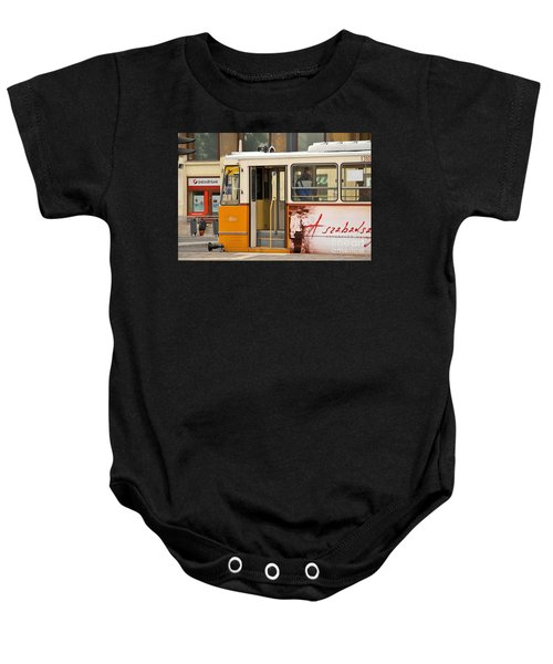 A Yellow Tram On The Streets Of Budapest Hungary Baby Onesie