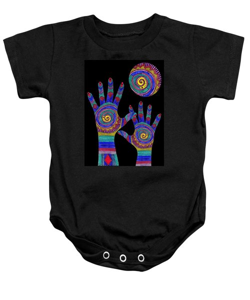 Aboriginal Hands To The Sun Baby Onesie
