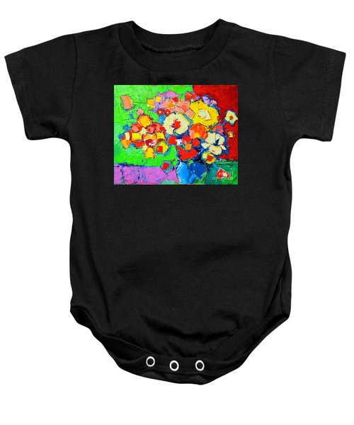 Abstract Colorful Flowers Baby Onesie
