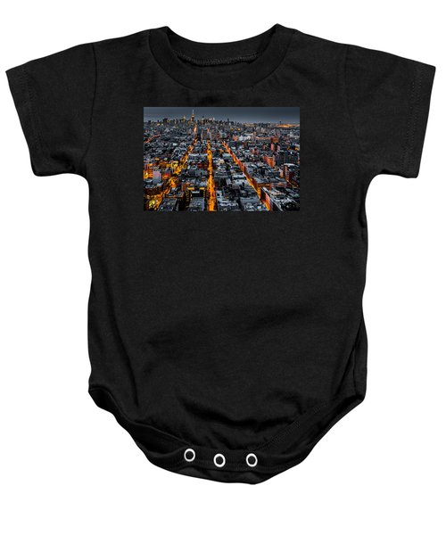 Aerial View Of New York City At Night Baby Onesie