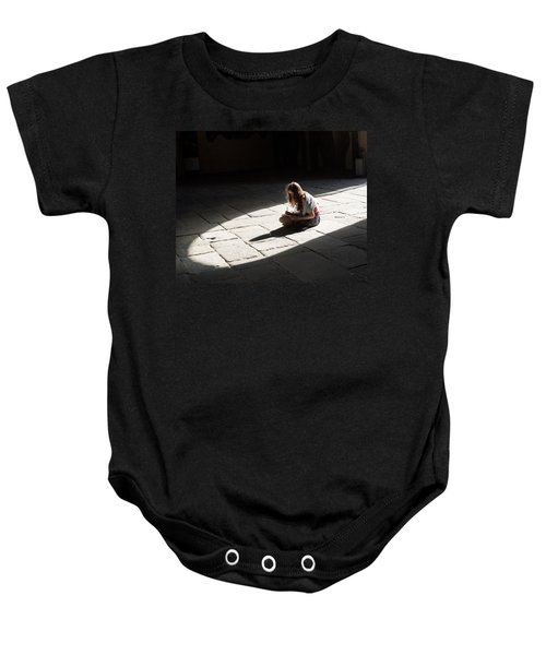 Baby Onesie featuring the photograph Alone In A Pool Of Light by Alex Lapidus