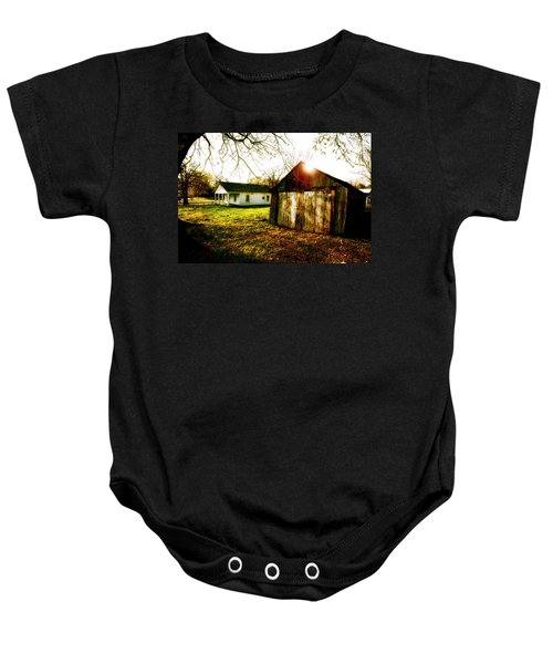 American Fabric   Mickey Mantle's Childhood Home Baby Onesie by Iconic Images Art Gallery David Pucciarelli