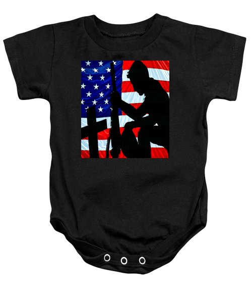 A Time To Remember American Flag At Rest Baby Onesie by Bob Orsillo