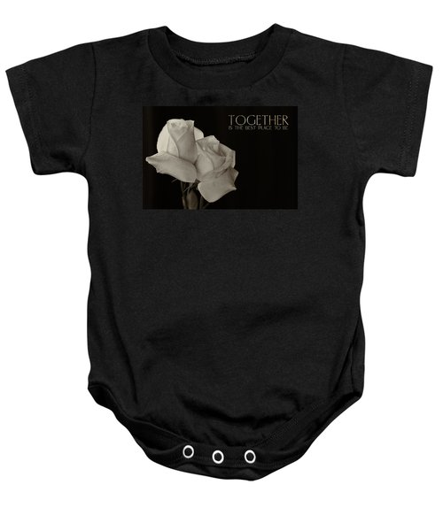 Antique Roses With Message Baby Onesie