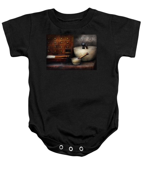 Apothecary - Pestle And Drawers Baby Onesie
