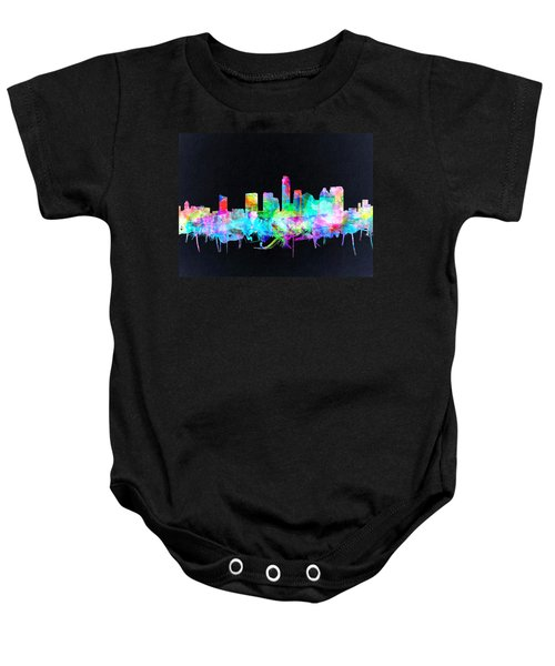 Austin Texas Skyline Watercolor 3 Baby Onesie