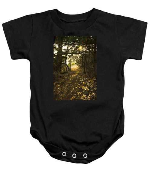 Autumn Trail In Woods Baby Onesie by Yulia Kazansky