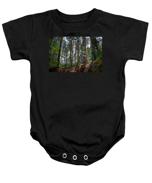 Biker On Trail Baby Onesie