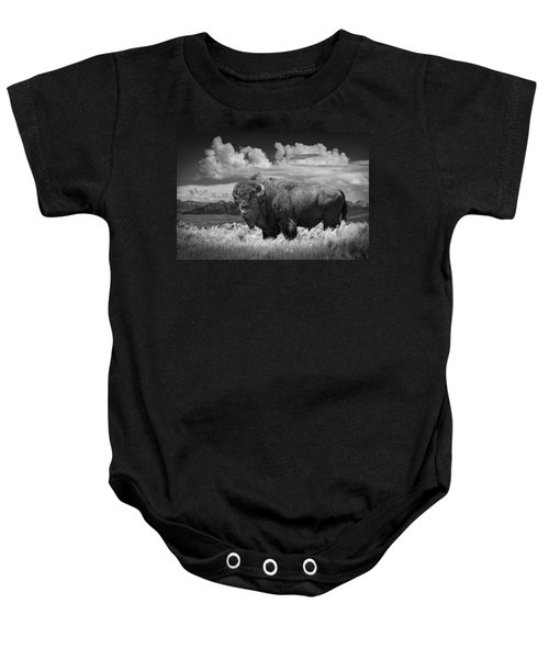 Black And White Photograph Of An American Buffalo Baby Onesie