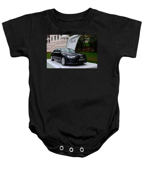 Black Audi A6 Classic Saloon Car Baby Onesie